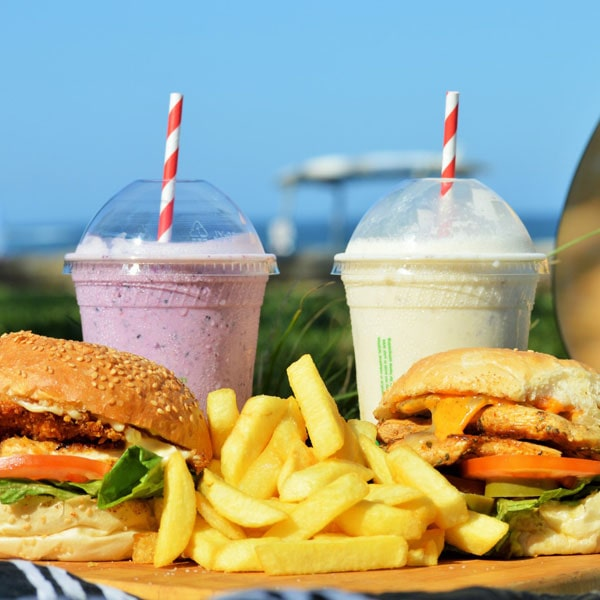 Rooster Burger with Chicken Schnitzel & Stella Burger with Grilled Chicken Breast, Chips and Frappe's