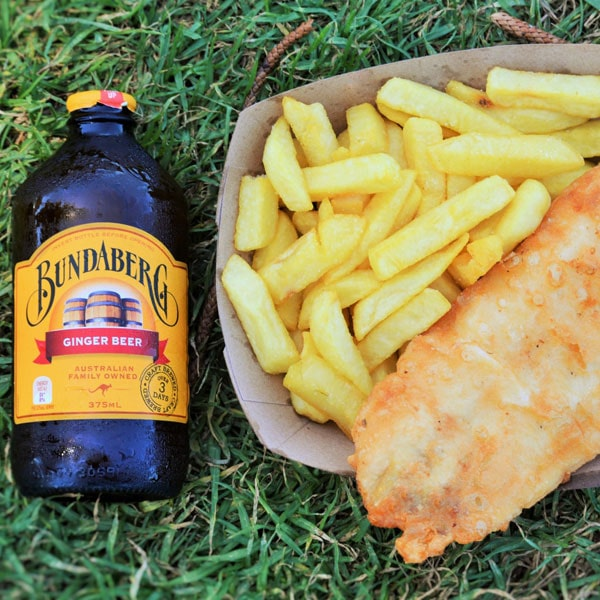 Lightly Battered Hoki Fish with lemon and tartare sauce, chips and Bundaberg Ginger Beer
